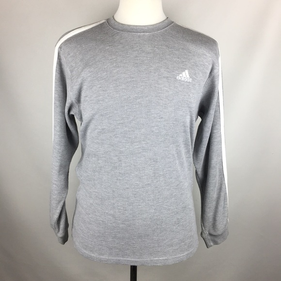 newest collection 38eb3 f4c4d adidas Other - Adidas Long Sleeve Fleece Shirt Gray Stripes Sz L